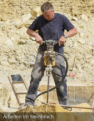 Working in the quarry - Making boreholes with compressed air hammer
