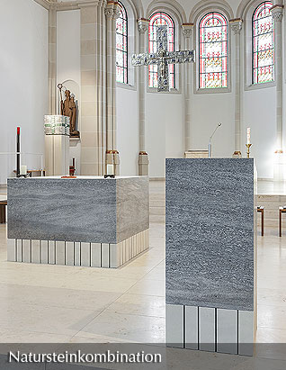 Natural stone combination - Altar and Ambo made of muschelkalk and sandstone