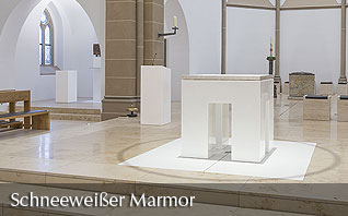 Snow white marble altar from Thasso marble of the church Enningerloh